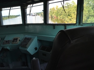 A view from the bridge of the USS Orleck.